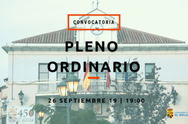 Convocatoria de Pleno Ordinario – 26/09/2019 a las 19:00