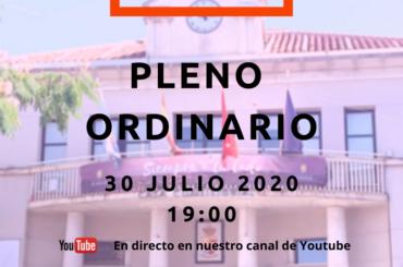 Convocatoria Pleno Ordinario 30 de julio de 2020 a las 19:00