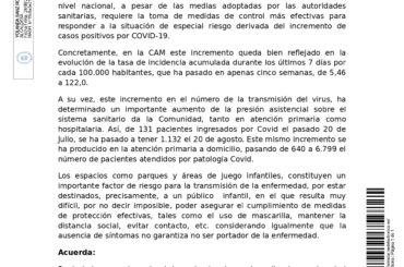 Bando relativo al cierre temporal de los parques y áreas de juego infantil en El Molar