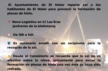 El Ayuntamiento de El Molar reparte sal a los habitantes de El Molar para prevenir la formación de placas de hielo.