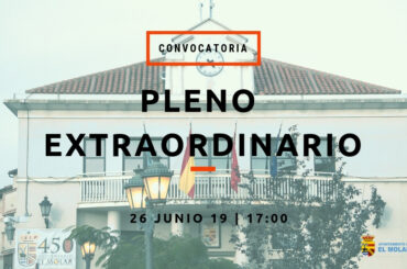 Convocatoria de Pleno Extraordinario 26 de junio de 2019
