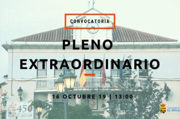 Convocatoria de Pleno Extraordinario: 16/10/2019 a las 13h