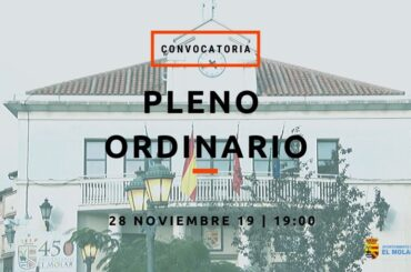 Convocatoria de pleno ordinario: 28/11/2019 a las 19:00