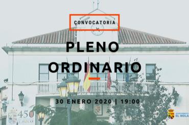 Convocatoria de Pleno Ordinario: 30 de enero de 2020 a las 19h