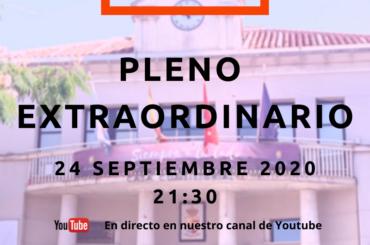 Convocatoria de Pleno Extraordinario: 24 de septiembre de 2020 a las 21:30