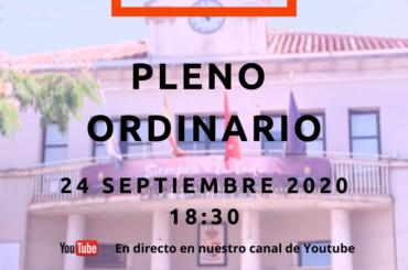Convocatoria de Pleno Ordinario: 24 de septiembre de 2020 a las 18:30