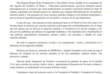 La alcaldesa de El Molar, junto con los alcaldes de Pedrezuela y San Agustín del Guadalix, solicitan a la Delegación de Gobierno refuerzos de patrullas de Guardia Civil y Seprona para controlar la afluencia masiva de visitantes