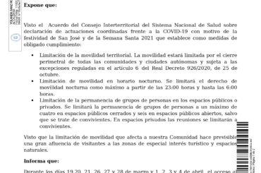 Bando relativo a las medidas de obligado cumplimiento en el puente de San José y Semana Santa