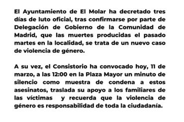El Ayuntamiento de El Molar decreta tres días de luto oficial y convoca un minuto de silencio por el nuevo caso de violencia de género en el municipio