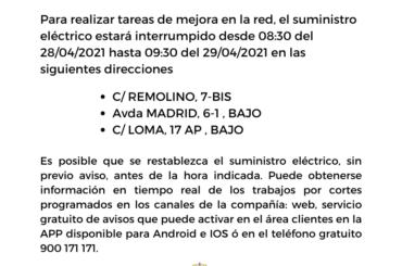 Iberdrola Informa: Cortes de suministro