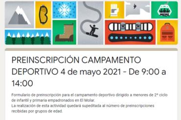 Abierto el plazo de preinscripción para el campamento deportivo del 4 de mayo