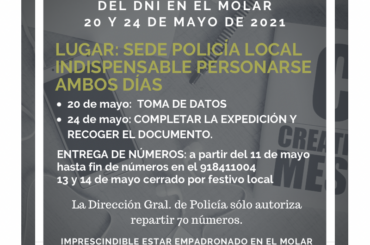 En mayo, nuevas fechas de tramitación y renovación del DNI en El Molar