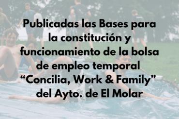 """Bases para la constitución y funcionamiento de la bolsa de empleo temporal """"Concilia, Work & Family"""""""