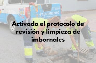 Activado el protocolo de revisión y limpieza de imbornales
