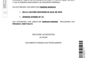 Corte de tráfico de autobuses  para los días 5 y 6 de octubre